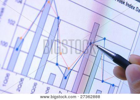 pen showing financial graph on screen