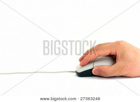 Mão segure mouse