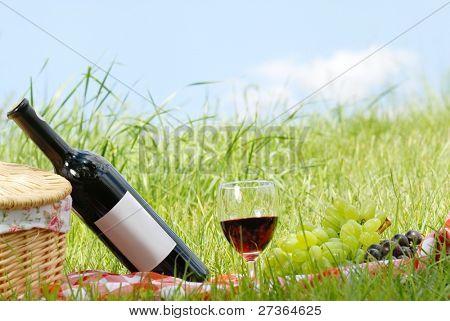 Picknick-Einstellung mit Wein