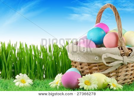 Basket of easter-eggs  on meadow at sunny day.