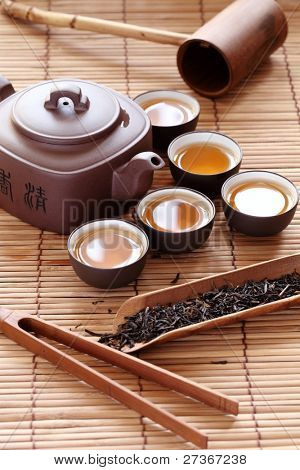 Set of China tea on bamboo mat.