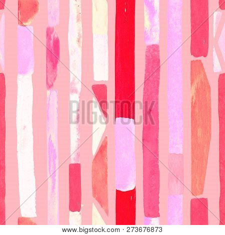poster of Bauhaus Pattern. Pink Red Geometric Watercolor Abstract Seamless Print. Watercolour Stripe Backgroun