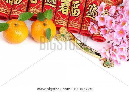 Chinese New Year Decoration--Fresh Oranges,Firecrackers,Jade Ruyi and Plum Blossom.