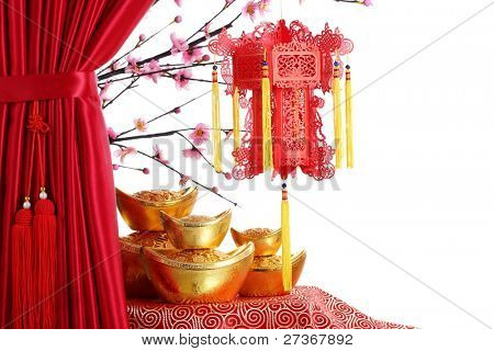 Chinese New Year Ornaments--Red Satin Curtain,Plum Blossom,Red Lantern and Gold Ingot.