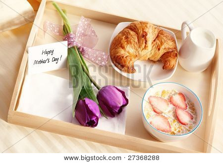 Breakfast for mother's day,Concept.