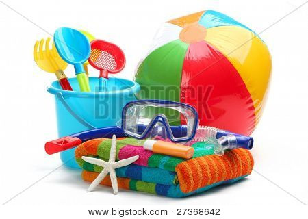 Plastic toys and diving equipment.Isolated on white background.