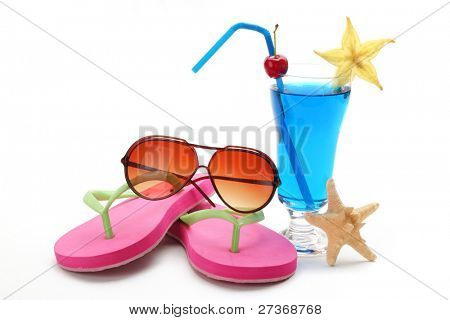 Blue tropical summer drink,Sunglasses and Flip-flops on White Background.