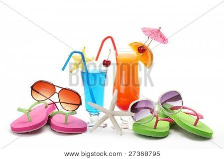 Tropical summer drink,Sunglasses and Flip-flops on White Background.