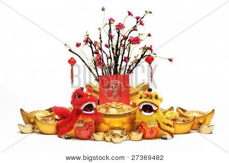 Chinese New Year Decorations--Traditional Dancing Lions,Gold Ingots,Red Packet and Plum Tree.