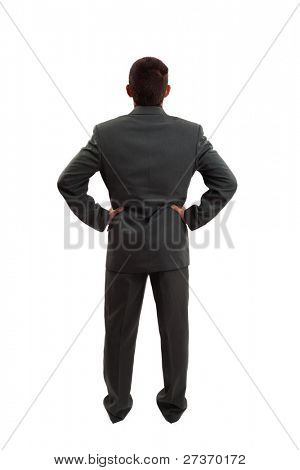 Man Standing Backwards, isolated on white