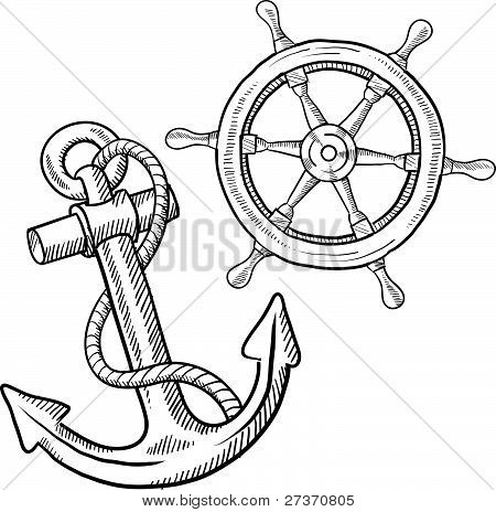 Anchor Wheel Drawing Ship Anchor And Wheel Sketch