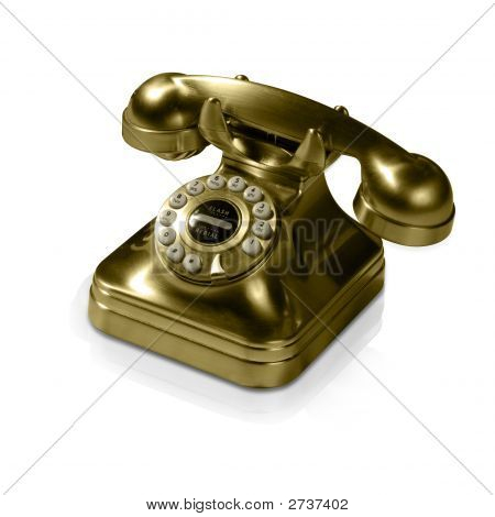 Old Golden Telephone (With Clipping Path And Reflection)