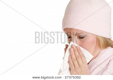 Ill Woman With Flu Sneezing