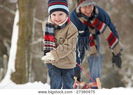 Kinder ziehen Schlitten durch Winterlandschaft