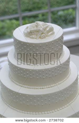 Closeup Of White Wedding Cake