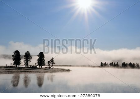 Foggy landscape Yellowstone