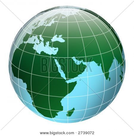 3D Globe In Blue And Green