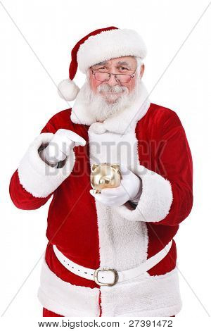happy Santa Claus pointing gold piggy bank, isolated on white background