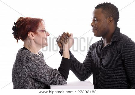 Mature White Woman Doing Arm Wrestling With Young Black Man