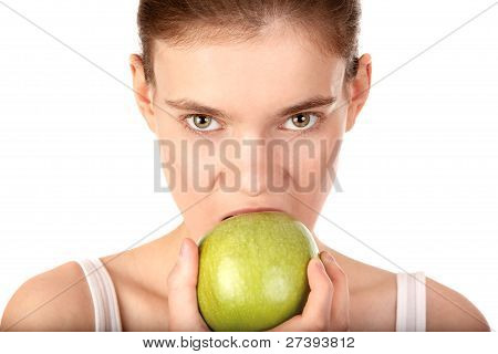 Woman With Green Apple Isolated