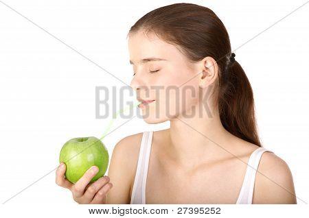 Girl drinking Fresh Apple Juice