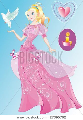 The beautiful princess in the wonderful pink dress
