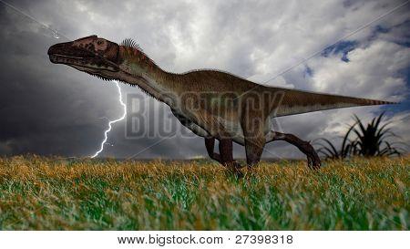 utahraptor in field during storm