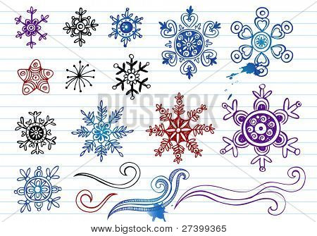Doodled Snowflakes, original hand-drawn 12 snoflakes and ornaments.