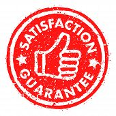 Satisfaction Guarantee Rubber Stamp Grunge Style In Red poster