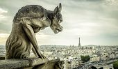 Gargoyle Or Chimera On The Cathedral Of Notre Dame De Paris Looks At The Eiffel Tower, Paris, France poster