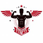 Sport Logo For Weightlifting Gym And Fitness Club, Retro Style Vector Emblem With Wings. With Sports poster