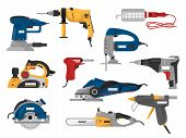 Power Tools Vector Electric Construction Equipment Circular-saw Power-planer Grinder Illustration Ma poster