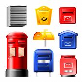 Mail Box Vector Post Mailbox Or Postal Mailing Letterbox Illustration Set Of Postboxes For Delivery  poster