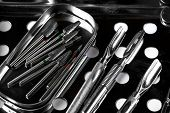 Professional Manicure Tools. Closeup Of Nail Care Tools. Set Of Metallic Manicure Tools Macro Steril poster