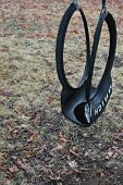 image of tire swing  - Tire swing with water puddle and fall leaves - JPG
