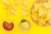 Snack For Party. Mexican Nachos Near Salsa And Guacamole Sause On Yellow Background Top View poster