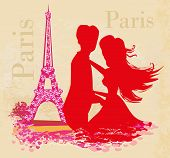 Sweet Couple In Paris Near The Eiffel Tower , Vector Illustration poster