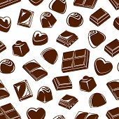 Chocolate Candies Seamless Pattern Background With Sweet Food Desserts. Vector Truffles And Bars Wit poster