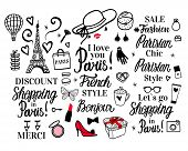Set Paris Lettering Type. French Style Woman Fashion Black Illustration Woman. Vector Hand Sketch. C poster
