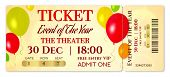 Admission Ticket Template. Vector Mockup Concert Ticket (tear-off) With Colorful Air Balloons On Gol poster