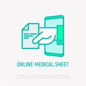 Online Medical Sheet, Prescription Thin Line Icon: Hand With Recipe From Smartphone. Modern Vector I poster