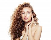 Cheerful Woman With Long Healthy Hair Isolated On White Background. Spa Beauty, Facial Treatment And poster
