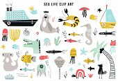 Big Kids Sea Life Clipart Collection. A Large Set Of Items On The Marine Theme Cut Out Of Paper. Vec poster