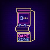 Arcade Game Machine Neon Sign. Game Zone Night Light Signboard With Retro Slot Machine. Gaming Adver poster