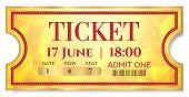 Admission Golden Ticket Template. Vector Mockup Movie Ticket (tear-off) With Red Border On Gold Back poster
