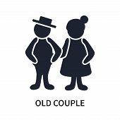 Old Couple Icon Isolated On White Background. Old Couple Icon Simple Sign. Old Couple Icon Trendy An poster
