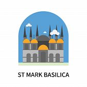 St Mark Basilica Icon Isolated On White Background. St Mark Basilica Icon Simple Sign. St Mark Basil poster