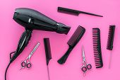 Combs For Hairdresser Hairdresser On Pink Background Top View poster