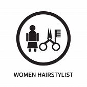 Women Hairstylist Icon Isolated On White Background. Women Hairstylist Icon Simple Sign. Women Hairs poster