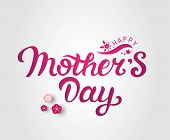 Happy Mothers Day Text With Flowers Decoration. Hand Drawn Lettering As Mothers Day Logo, Badge, Ico poster